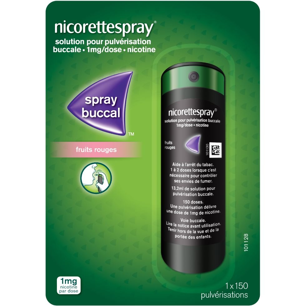Photo d'un pack de Nicorettespray fruits rouges