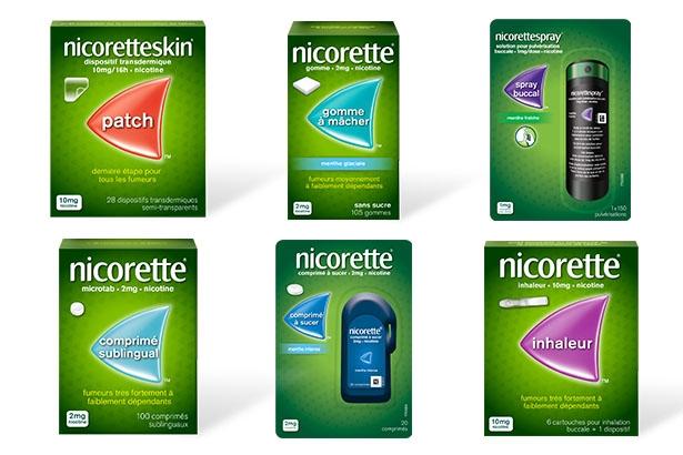 Série de photo des packs de la gamme Nicorette