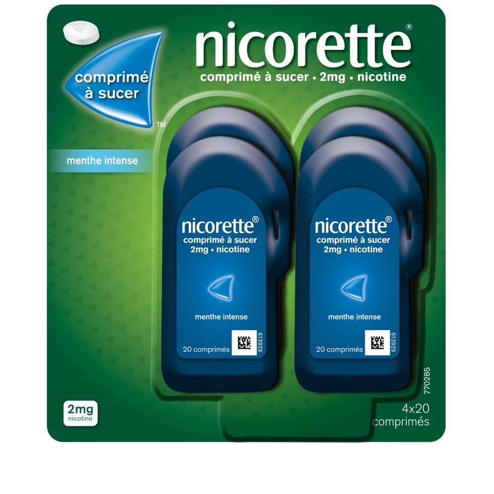 Photo d'un pack quadruple de comprimés à sucer arôme menthe