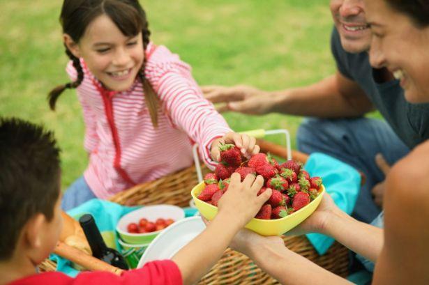 Une famille sont assis dans l'herbe devant un plateau de fraise
